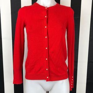 Zara Knit Red Pearl Button Cardigan